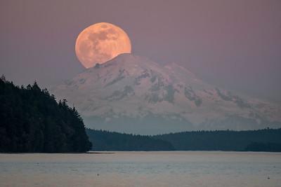 Full Moon Rise over Mount Baker