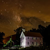 Boxley Valley Church at night under the Milky Way