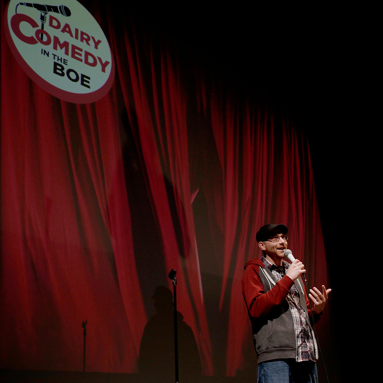 "Eric Henderson, host of the ""3 Course Comedy"" podcast,  performs at the Dairy Arts Center on Saturday, Apr. 16, 2016 in Boulder. (Photo by Trevor Davis)"
