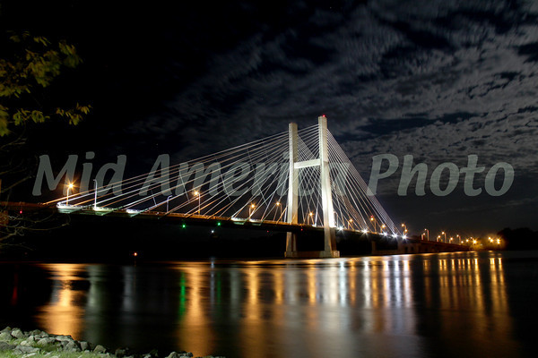 Great River Bridge with a full moon.