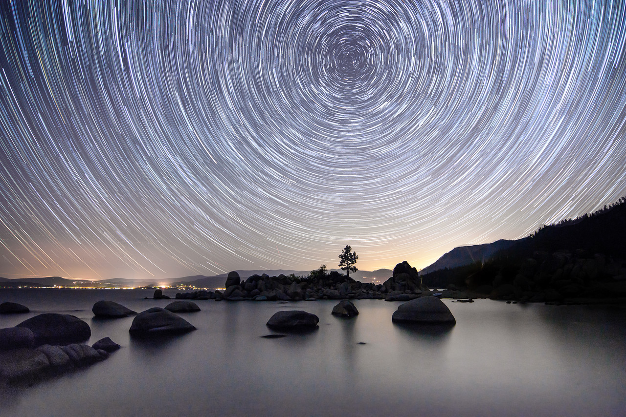 Star Trail Photo Over Lake Tahoe