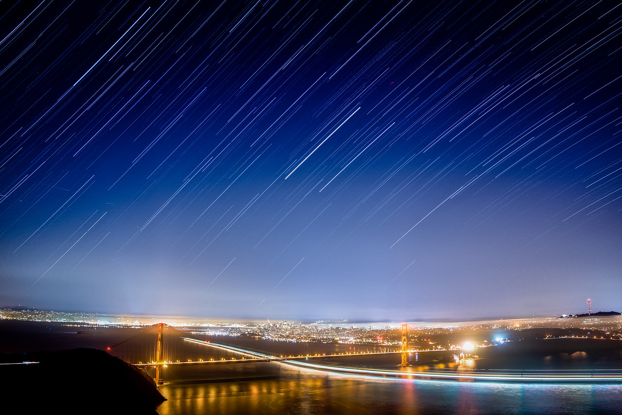 Falling Star Trails Over the Golden Gate, San Francisco