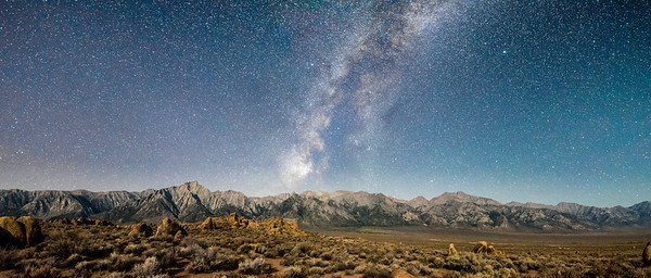 Moonlight Sierras, Milky Way Panorama