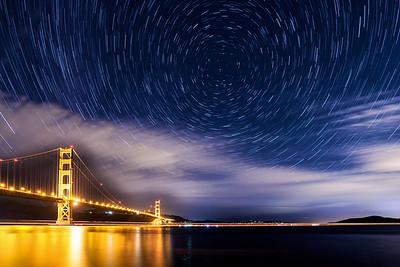Star Trails Over the Golden Gate Bridge, California