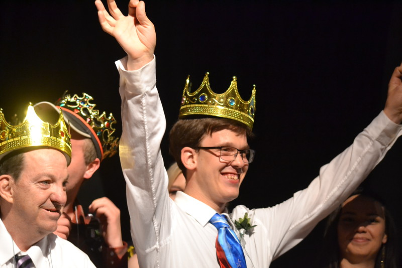 Josh J. is among dozens of other guests crowned prom king during the Night to Shine event, sponsored by the Tim Tebow Foundation, in the ballroom set up at Vineyard Christian Church on Friday. Carie Canterbury/Daily Record 2-12-16
