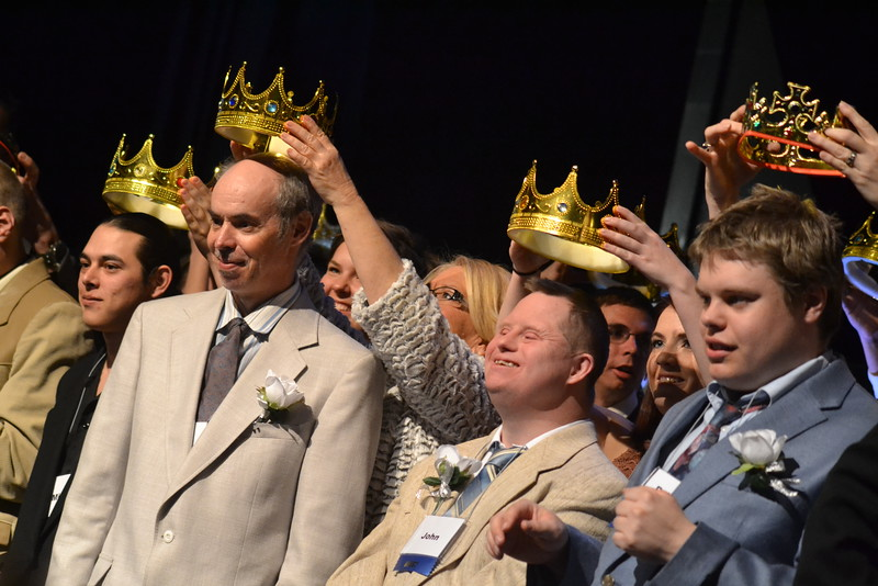 Ralph, John and Robert are among dozens of other guests crowned prom kings during the Night to Shine event, sponsored by the Tim Tebow Foundation, dances in the ballroom set up at Vineyard Christian Church on Friday. Carie Canterbury/Daily Record 2-12-16
