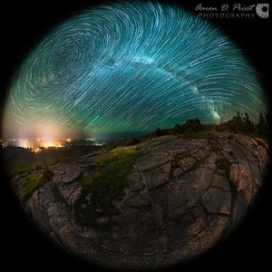 Airglow and Star Trails over Cadillac Mountain – Fisheye