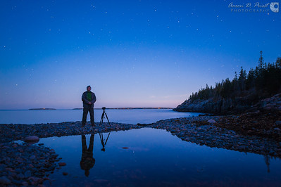 Shooting star trails over Hunter's Brook in Acadia National Park