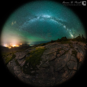 Airglow over Cadillac Mountain - Fisheye