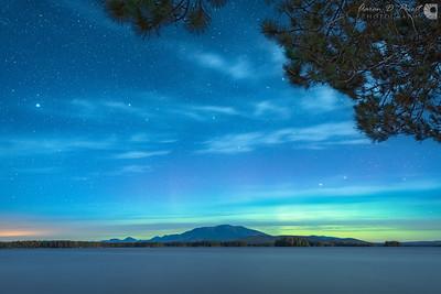 Aurora over Mount Katahdin