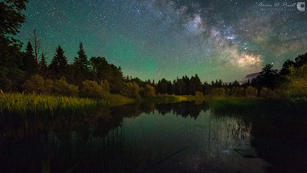 Milky Way reflecting over my backyard pond in Lee, Maine on June 19, 2014, 11:11 PM.