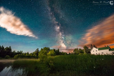 Milky Way and moonrise in my back yard, Lee, Maine, June 20, 2014, 01:55 AM