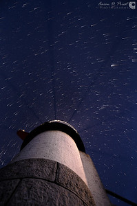 Star trails over Marshall Point Lighthouse