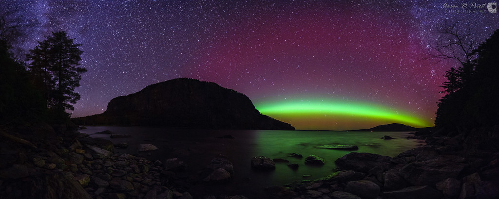 Panorama of the northern lights over Mt. Kineo from Kineo Island.