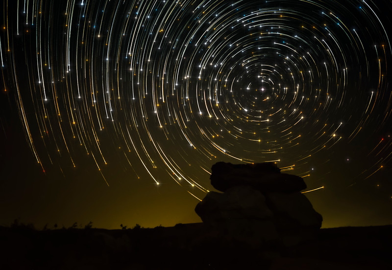 Writing-on-Stone Star Trails