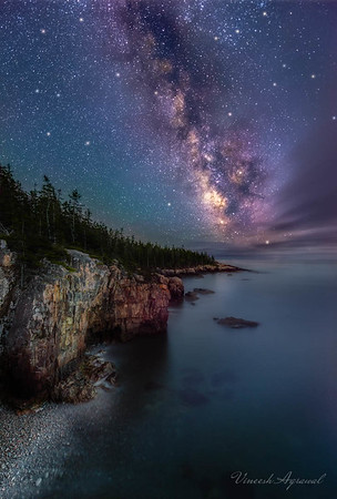 Starry summer night on coast of Maine