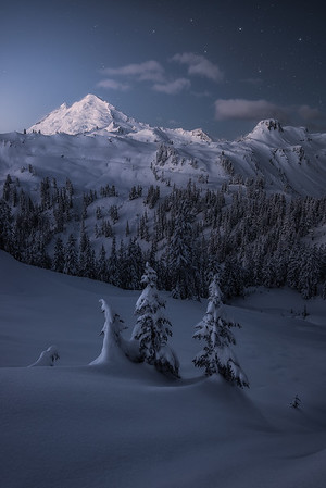 Fresh snow blankets Mt Baker during dawn - Washington