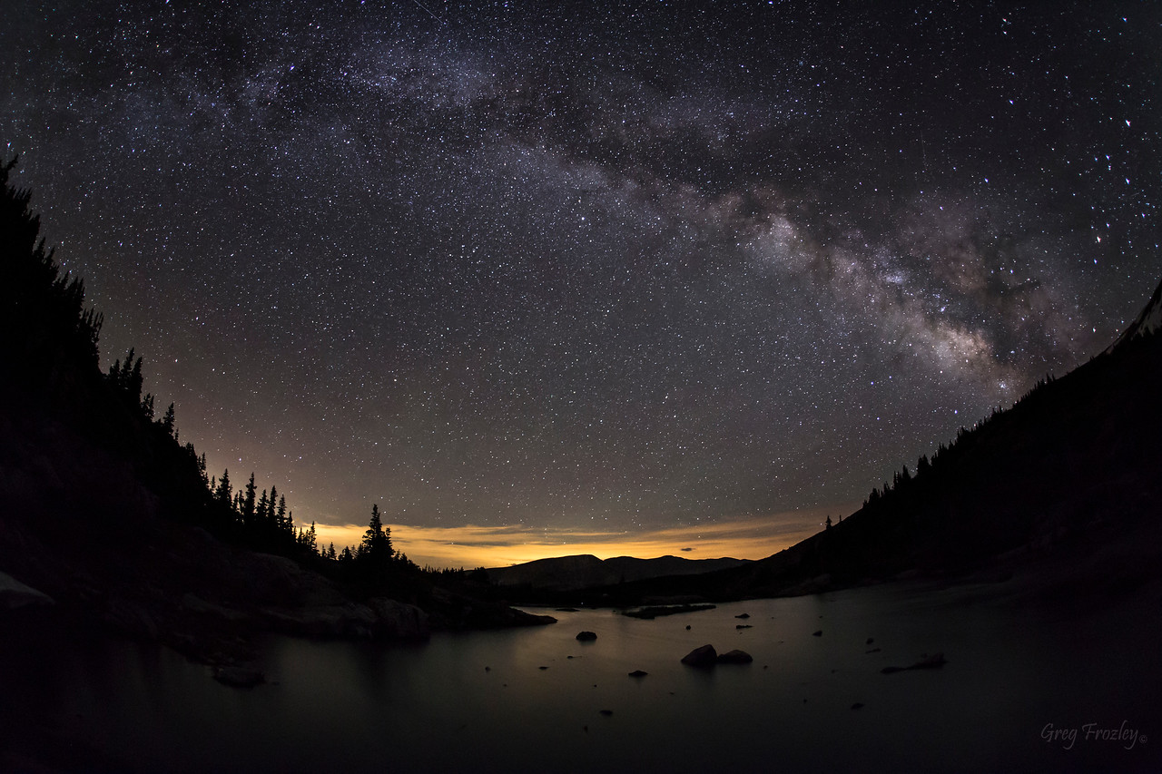 20 second fisheye  exposure with Denver lights to the east.  Mohawk Lake, Breckenridge, CO