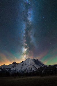 The night sky above Mt Rainier - Washington