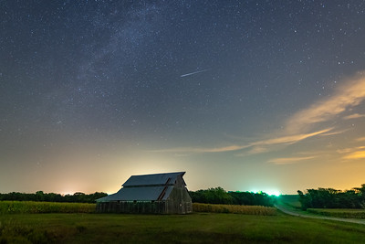 Perseid Meteor over Kansas Barn