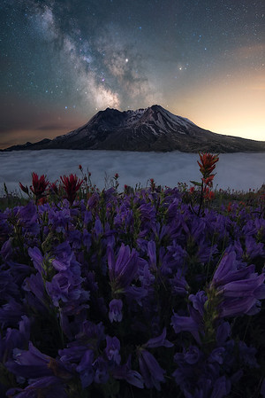 Millions of stars above Mt St Helens, Washington
