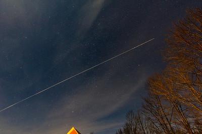 Night Sky wih plane trail
