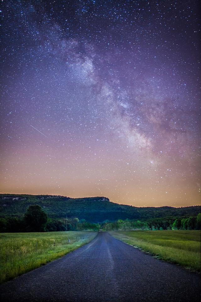 Milky Way above Hanging Rock in NC.