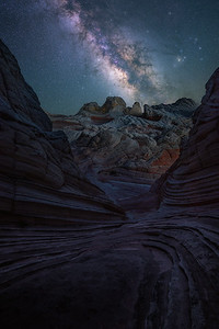 Alien like landscapes under the night sky - White Pocket, Arizona