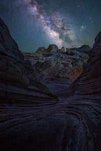 Alien like landscapes under the night sky - White Pocket, Arizona