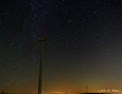 Wind turbines at night