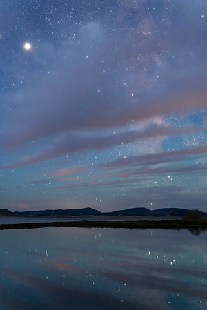 Blue hour over Antero Reservoir.  The Milky Way is obscured by clouds, Jupiter shining brightly.