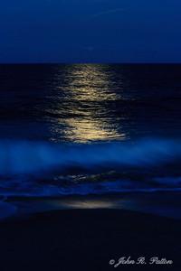 Full moon reflected on Atlantic Ocean. Vero Beach. Florida. USA.