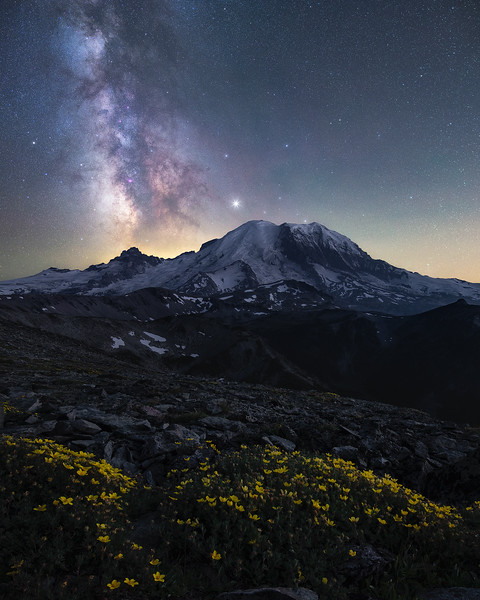 Mountains, flowers and stars! Rainier - Washington