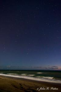 Night. Stars. Atlantic Ocean. Beach. Orchid Island. Vero Beach. Florida. USA.