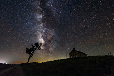 Schoolhouse and Tree under Stars