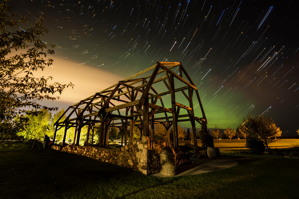 Star Trails Over Stone Barn