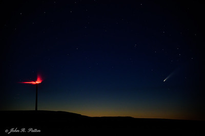 Neowise Comet over windfarm