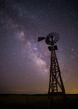 Milky way over eastern Colorado windmill, About 4:00 AM, Kiowa, CO