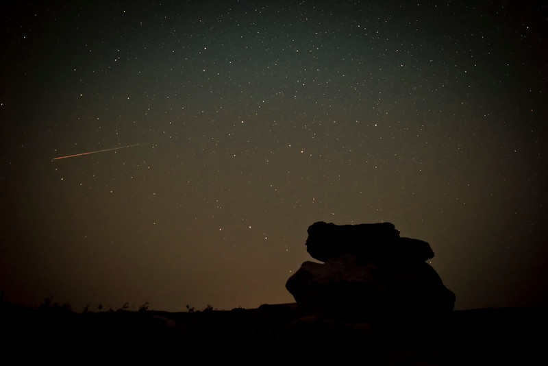 Perseid Over Hoodoos in Writing-on-Stone