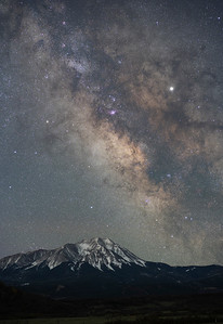 The Milky Way rises over West Spanish Peak in La Veta, CO on the first week of April.  This is a 5 minute exposure using a star tracker (sky), and another five minute exposure of the mountain.