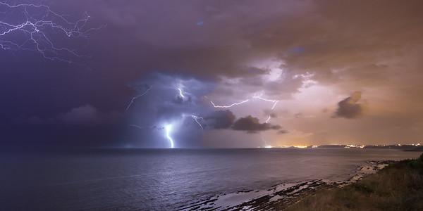 Lightnings on Biarritz, France