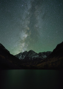 Maroon Bells under the Galaxy.  A 15-shot image stack to reduce noise. Sony A7Rii with Zeiss Batis 25 mm f/2.0