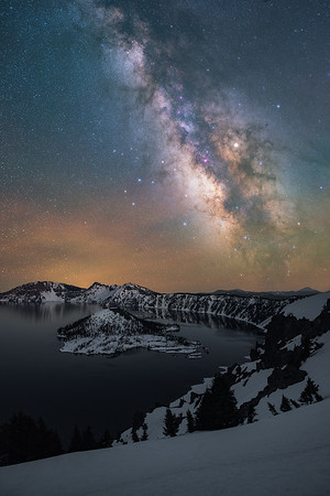 The Milky Way above Crater Lake, Oregon