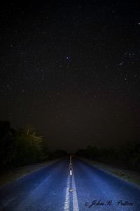 Road at night. State Road 9336. Everglades National Park. Florida. USA.