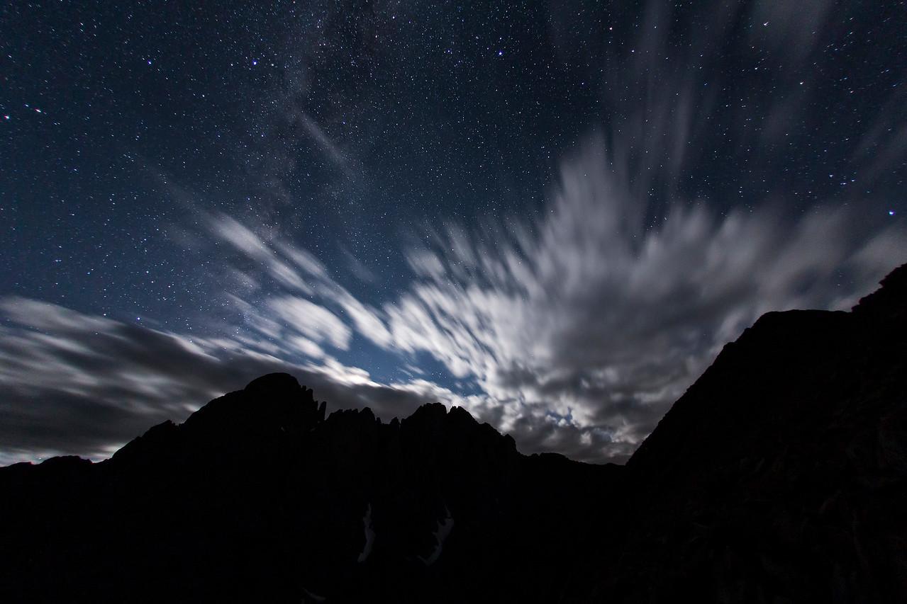 Midnight shoot of Crestone Needle from Humbolt Peak.