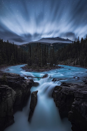 Dawn approaches at Sunwampta Falls, Jasper NP - Canada