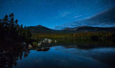 Stars over Mount Katahdin, Sandy Stream Pond, Baxter State Park,  Maine, USA
