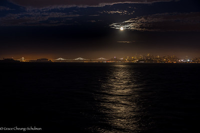 Moonrise over Bay Bridge