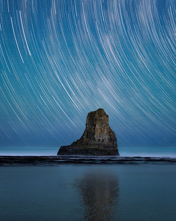 200+ images composite of star trails over Davenport Beach. 2015