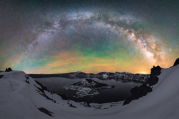 The Milky Way arches over Crater Lake, Oregon
